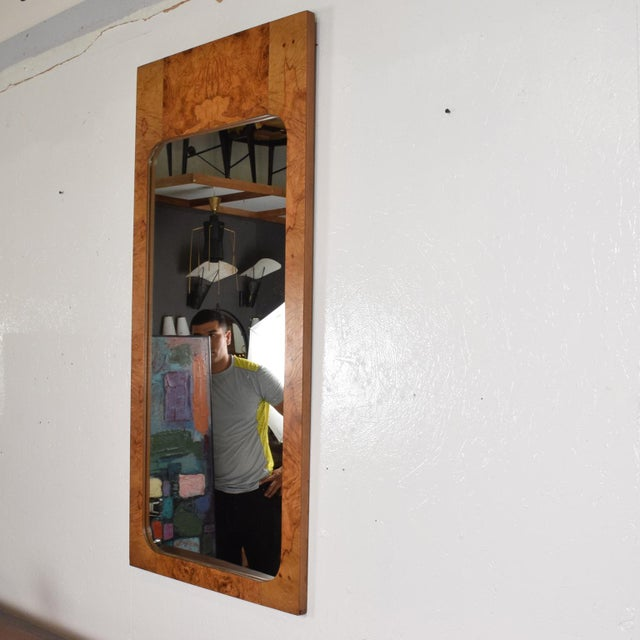 Mid-Century Modern Mid-Century Modern Wall Mirror in Burl Wood For Sale - Image 3 of 11
