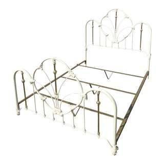 Vintage French Country Victorian Style White Metal & Brass Queen Size Bed Frame