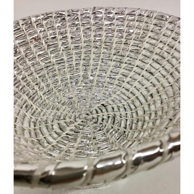 Metal Modern Artisan Hand Woven Repurposed Plastic Basket For Sale - Image 7 of 11