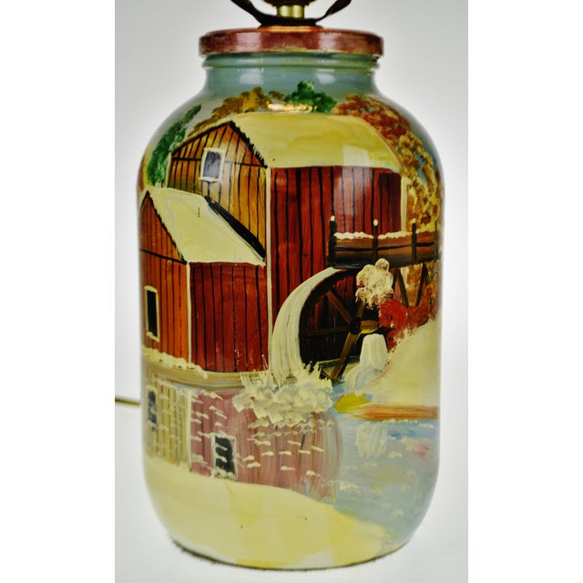 Vintage Folk Art Hand Painted Glass Jar Lamp - Artist Signed For Sale - Image 4 of 13
