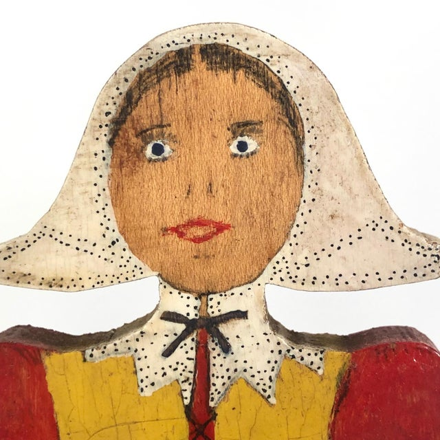 Early 20th Century Folk Art Dutch Woman Hand-Painted Wooden Doorstop For Sale - Image 5 of 13