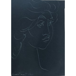 "1955 Madge Tennent ""Hawaiian Woman"" White Ink Drawing For Sale"