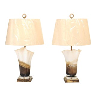 Stunning Pair of Eastern European Blown Glass Vessels as Custom Lamps