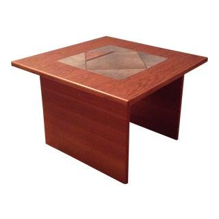 Vintage Danish Modern Gangso Teak Side Table Slate Tile Top End Table Mid Century For Sale