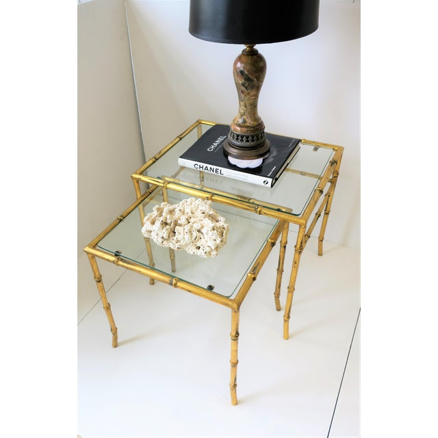 Italian Gold Gilt Bamboo and Glass Nesting or End Tables, Set of 2 For Sale - Image 4 of 12