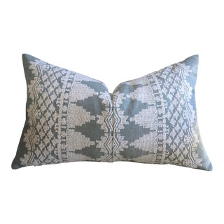 Dusty Blue Schumacher Embroidered Pillow Cover For Sale