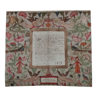 18th C. Dutch Folk Art Poem-Collage Highly Decorated For Sale