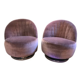 1960s Vintage Milo Baughman for Thayer Coggin Channel Back Swivel Lounge Chairs- a Pair Newly Upholstered For Sale