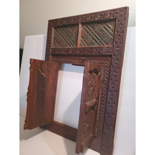 1950s Vintage Moroccan Hand Carved Hanging Window With Doors Preview