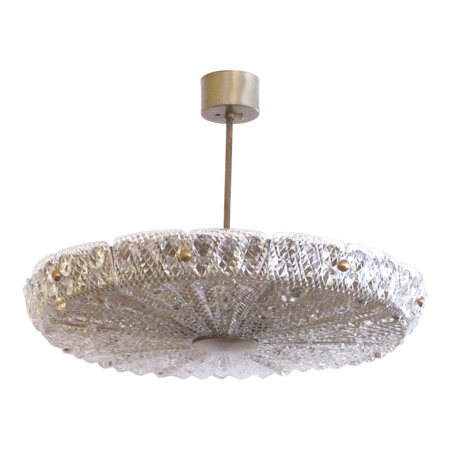 Crystal Eight Light Chandelier by Carl Fagerlund for Orrefors Glassworks, Sweden 1960's For Sale