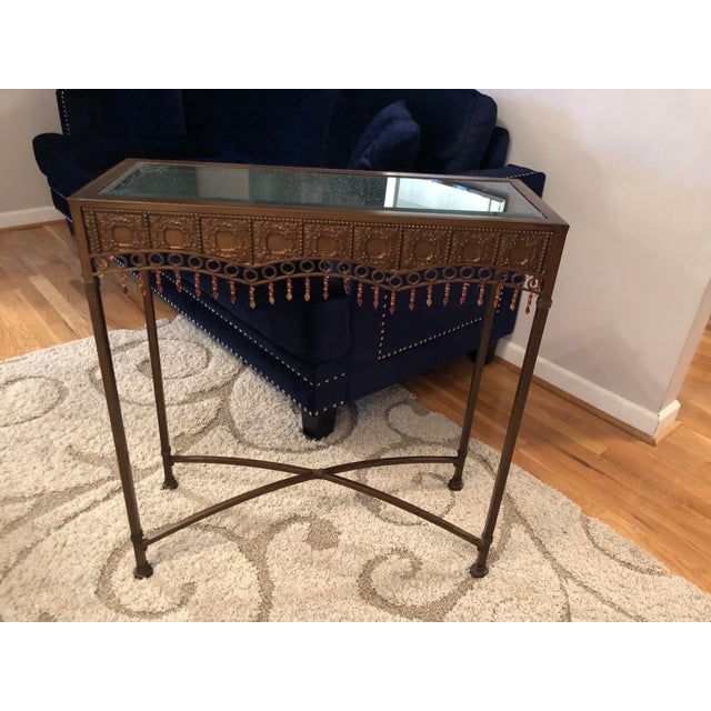 Bombay Co. Bohemian Hammered Bronze Copper Metal Accent Table For Sale - Image 11 of 13