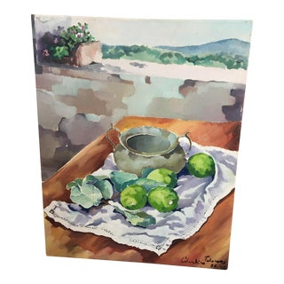 Tuscan Lemons & Landscape Painting For Sale