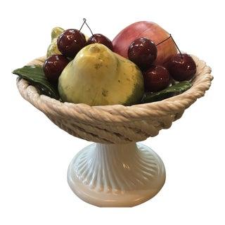 Vintage Majolica Fruit Basket For Sale