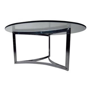 Vintage Modern Chrome Coffee Table For Sale