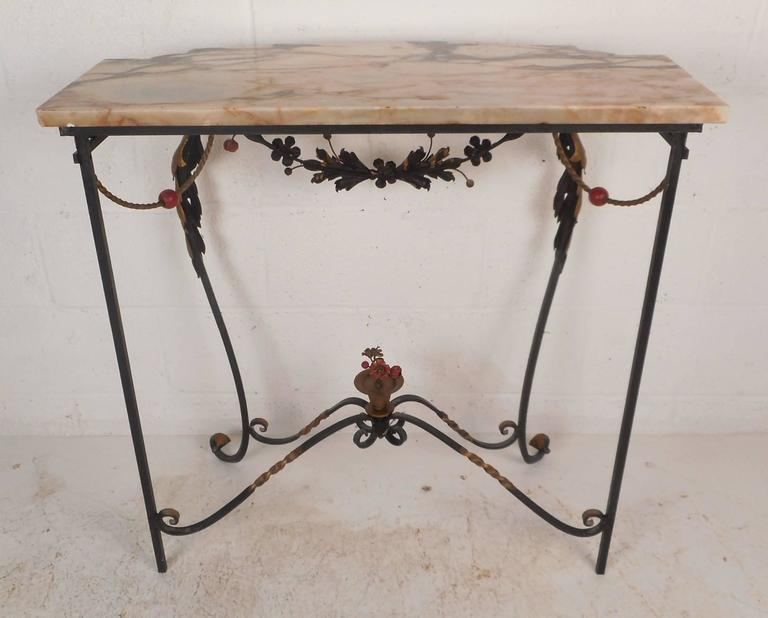 Vintage Cast Iron And Marble Demilune Hall Table For Sale   Image 4 Of 11