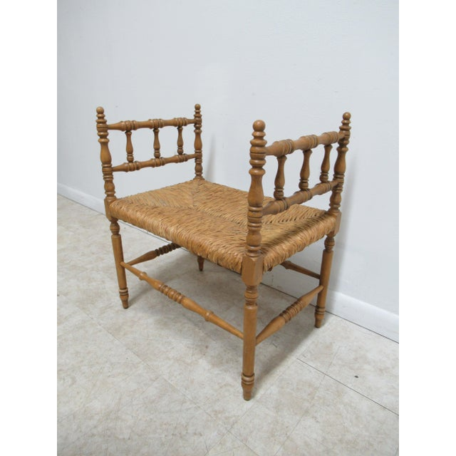 1990s Vintage Faux Bamboo French Regency U Bench Ottoman Vanity Seat Stool Rush Seat For Sale - Image 11 of 11