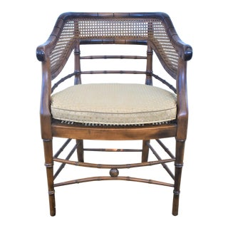 1970s Vintage Faux Bamboo and Cane Chair For Sale