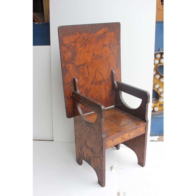 "Unique Folk Art hand made wooden chair turned to table or bench. Table size: H 28.5"", L 30"", D 24""."