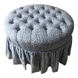 Shabby Chic Ethan Allen Blue and White Floral Round Tufted Ottoman For Sale