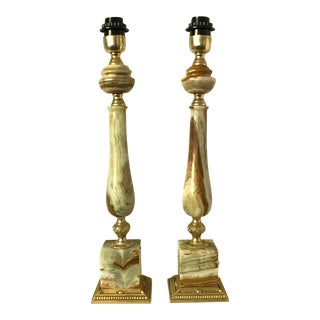 Italian Mid-Century Onyx Gold Metal Base Accents Table Lamps - a Pair For Sale