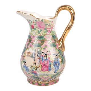 "Oriental Rose Canton Porcelain Pitcher 11"" For Sale"
