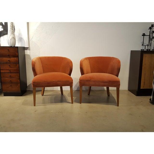1960s Apricot Velvet Scandinavian Armchairs - A Pair - Image 3 of 6