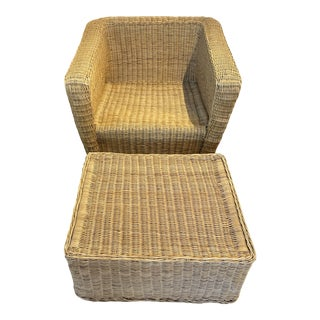 Vintage Gumps Rattan Wicker Chair & Ottoman For Sale