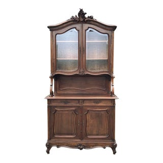 19th Century French Louis XV Walnut China Cabinet For Sale