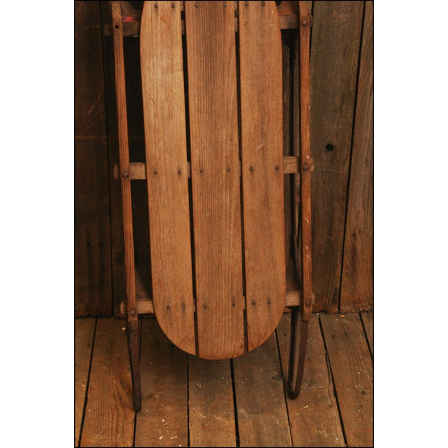 Vintage Weathered Flexible Flyer Wood Sled - Image 6 of 11