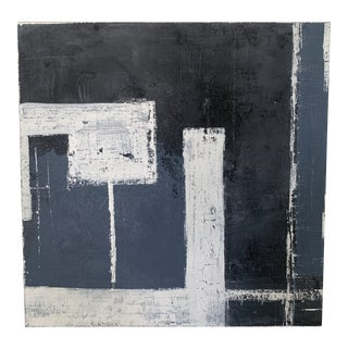 Modern Black and Blue Mixed Media on Canvas For Sale