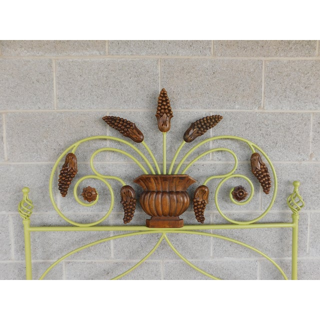 Features fine quality construction, Heavy Wrought Iron, with Wood Decorative Applique approx 10 years old Very Good...