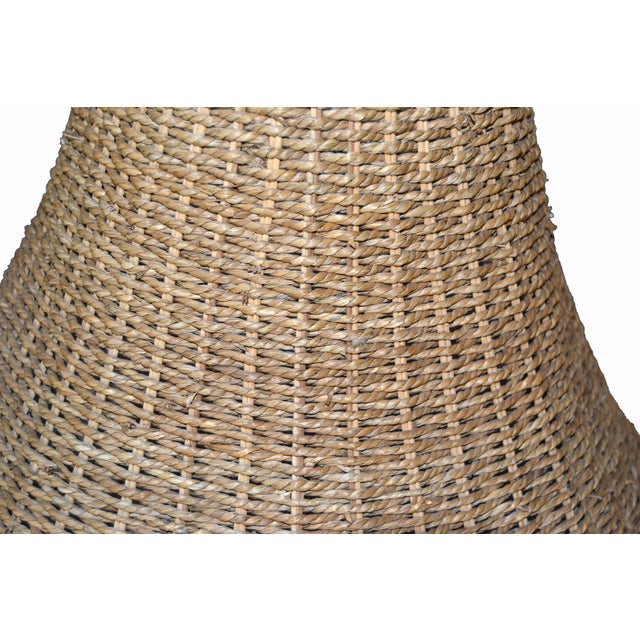 Mid-Century Modern Round Hand-Woven Rattan, Wicker White Lined Fabric Lamp Shade For Sale In Miami - Image 6 of 11