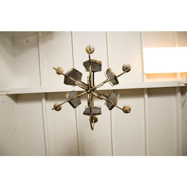 Metal Italian Etched Mirror Panel Hanging Candlestick Chandeliers For Sale - Image 7 of 11
