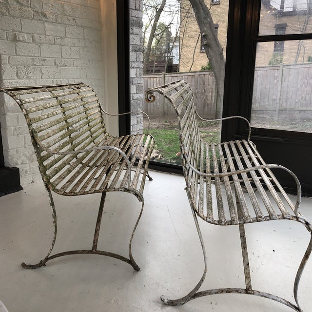 French 1920's White Garden Benches - a Pair For Sale - Image 11 of 12