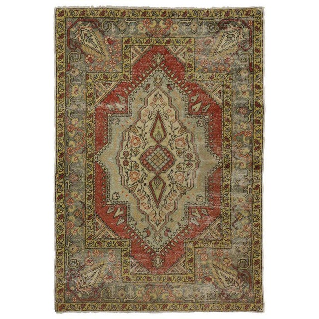 Vintage Turkish Worn-In Distressed Oushak Accent Rug - 4'2 X 6'00 For Sale - Image 4 of 4
