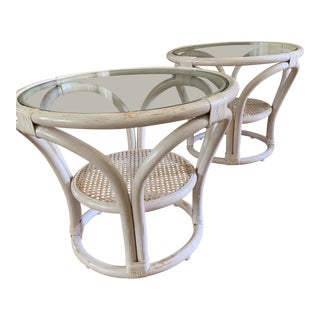 Midcentury Glass Top Rattan Accent Tables, a Pair For Sale