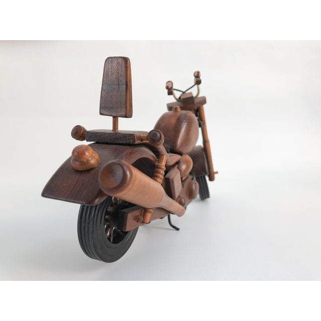 Vintage Motorcycle Wood Model Sculpture For Sale In Boston - Image 6 of 8