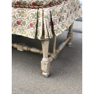 Antique French Hand Painted Bench With Floral Fabric Preview
