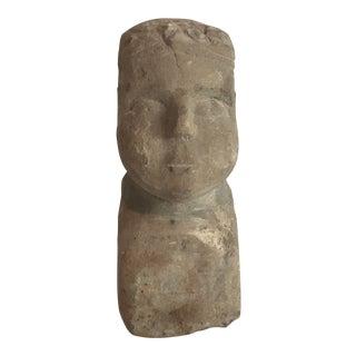 Carved Limestone Folk Art Bust For Sale
