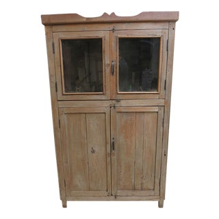 Antique Primitive Hutch China Cabinet Cupboard