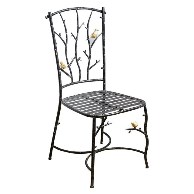 Vintage Faux Bois Wrought Iron Chair With Birds on Branches For Sale - Image 13 of 13