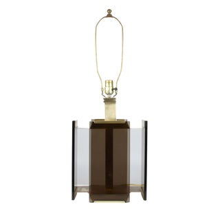 Paul Hanson Brass and Smoked Glass Table Lamp For Sale