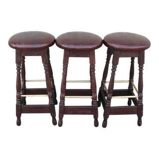 Mid 20th Century Original Surface Bar Stools with Leather Seats For Sale