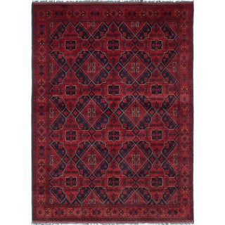 """Hand-Knotted Tribal Afghan Rug- 5'5"""" X 7'4"""" For Sale"""