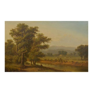 Antique 19th Century Hudson River Valley Oil Landscape Painting For Sale