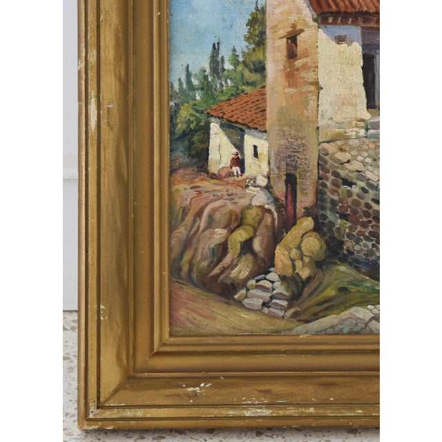 Early 1900s Italian Mediterranean Village Oil Painting For Sale In Los Angeles - Image 6 of 10