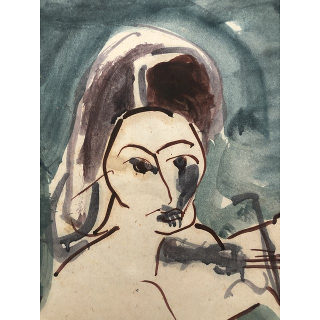 Mid-Century Female Nude With Violin Watercolor 1960s For Sale - Image 9 of 12
