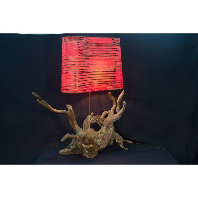 Vintage Driftwood Lamp With Shade - Image 3 of 6