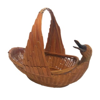 Vintage Chinese Woven Swan Basket For Sale