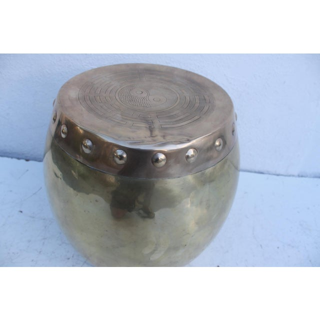 Vintage Chinoiserie Brass Stool - Image 8 of 8